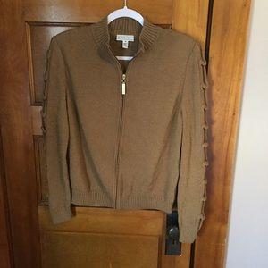 St. John Brown Wool Zip Up Cardigan